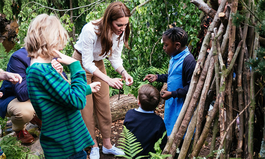 Kate showed off the plot's special den, which was reportedly constructed with sticks from Anmer Hall, the Cambridge family's country home in Norfolk.