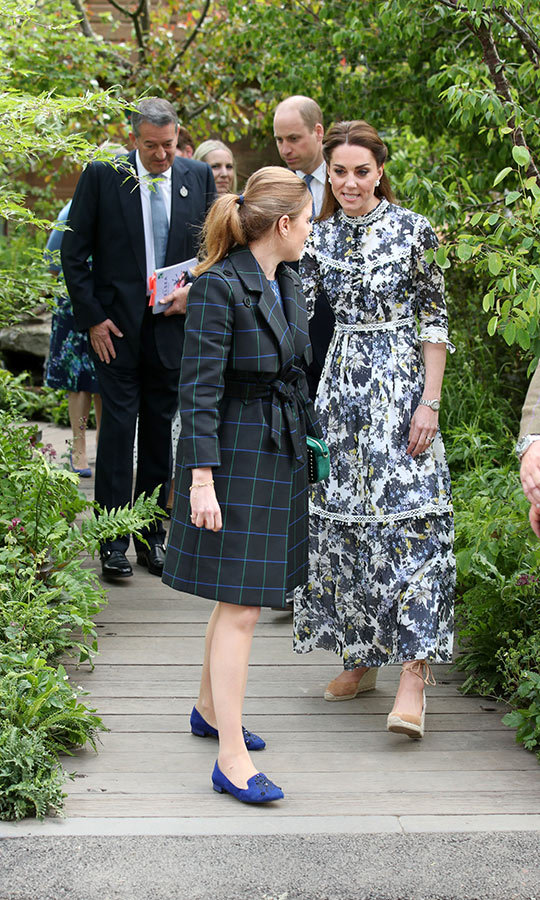 Beatrice also toured the garden with Kate and Prince William.