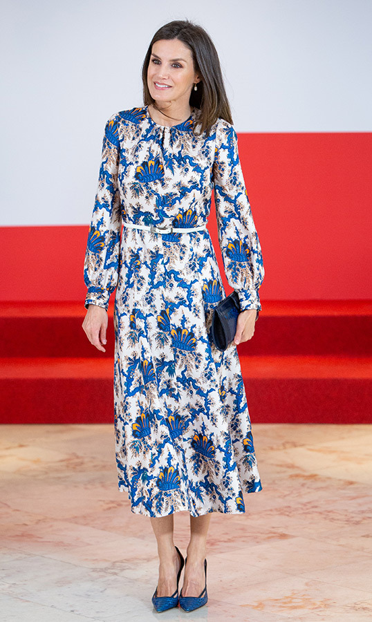 "<a href=""/tags/0/queen-letizia""><strong>Queen Letizia</a></strong> of Spain attended an awards ceremony on May 20 looking the picture of elegance! She paired her blue-and-white dress with a pair of cut-out pumps and a small clutch.