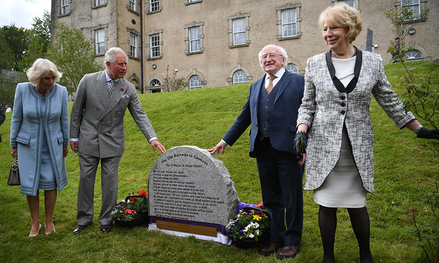 The duo unveiled a plaque during a visit to the centre,  alongside Irish President <b>Michael D. Higgins</b> and his wife <b>Sabina Coyne</b>.