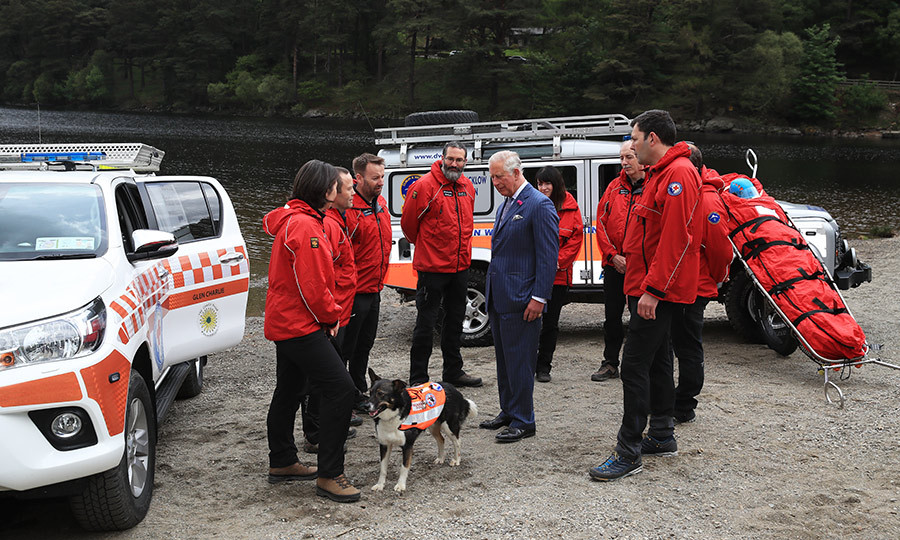 The 70-year-old prince met with the Dublin Wicklow Mountain Rescue Team during a visit to Upper Lake in Glendalough.