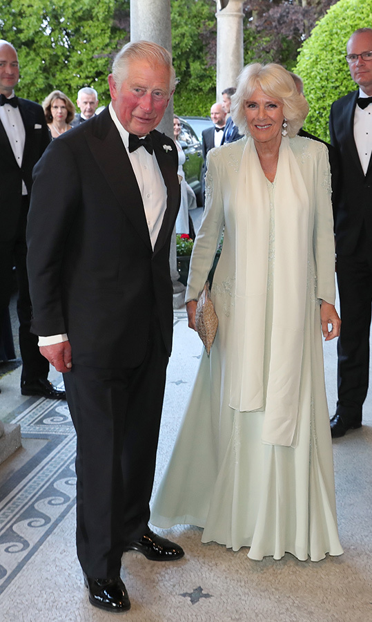 The dapper couple dusted off their finest clothes to attend a dinner to celebrate UK/Ireland relations at Glencairn. Prince Charles looked handsome in a tuxedo, while Camilla dazzled in a white gown.
