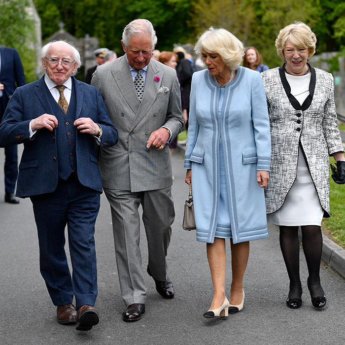 On the first day of their visit, Prince Charles and Camilla joined Ireland's President, <b>Michael D. Higgins</b> and wife <b>Sabina Coyne</b> to visit the Glencree Centre for Peace and Reconciliation.