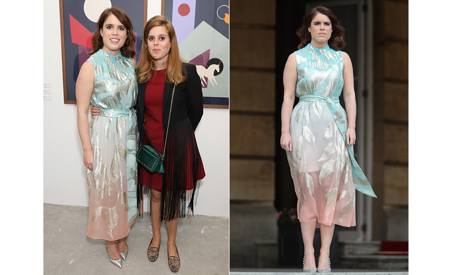 "Sisters day out! <a href=""/tags/0/princess-eugenie""><strong>Princesses Eugenie</strong></a> and <a href=""/tags/0/princess-beatrice""><strong>Beatrice</strong></a> were the pictures of elegant for the Animal Ball Art Show in London on May 22. Eugenie dazzled in a mint green and peace ombré dress, paired with silver pumps, while her sister wore a red dress, a fringed cardigan, flat shoes and a green cross body bag.