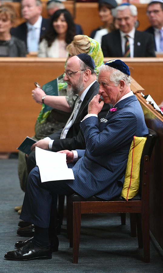 The Prince of Wales sat beside Chief Rabbi Ephraim Mirvis during the visit.