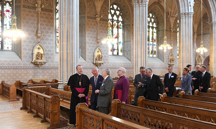 The 70-year-old met with Archbishop Eamon Martin and Archbishop Richard Clarke during the school visit.