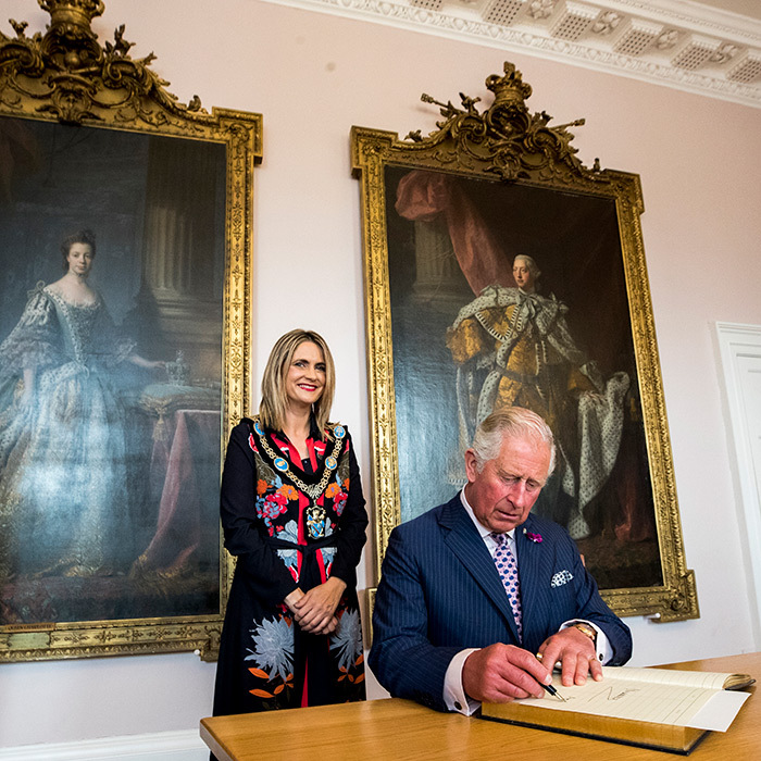 The prince signed the visitors book at the Armagh council offices.