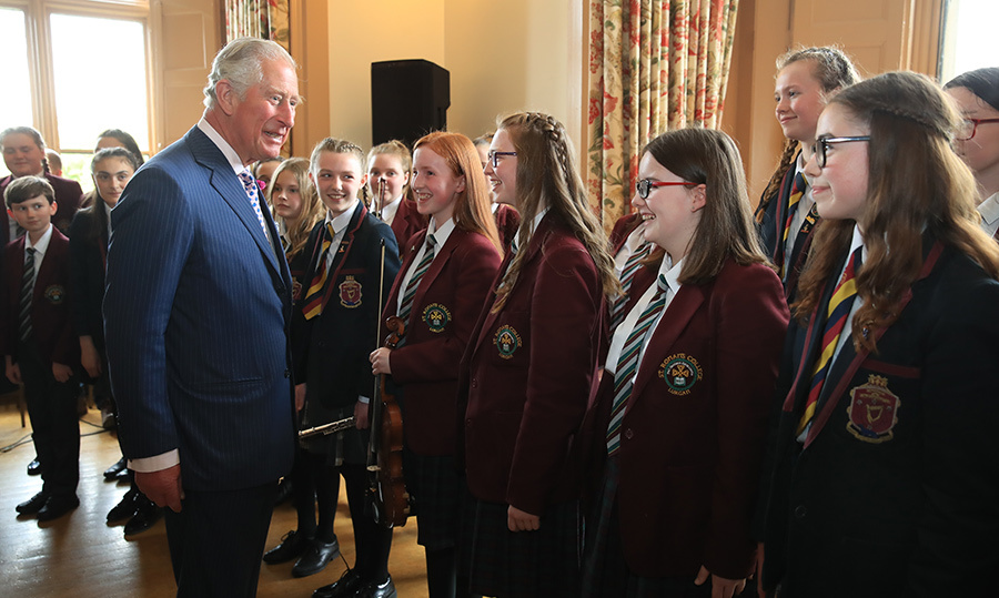 The Prince of Wales met the choir during his visit to Brownlow House.