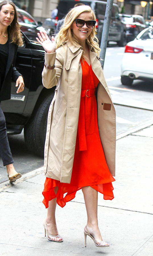 Reese Witherspoon was radiant in red while roaming the streets of New York City on May 29.