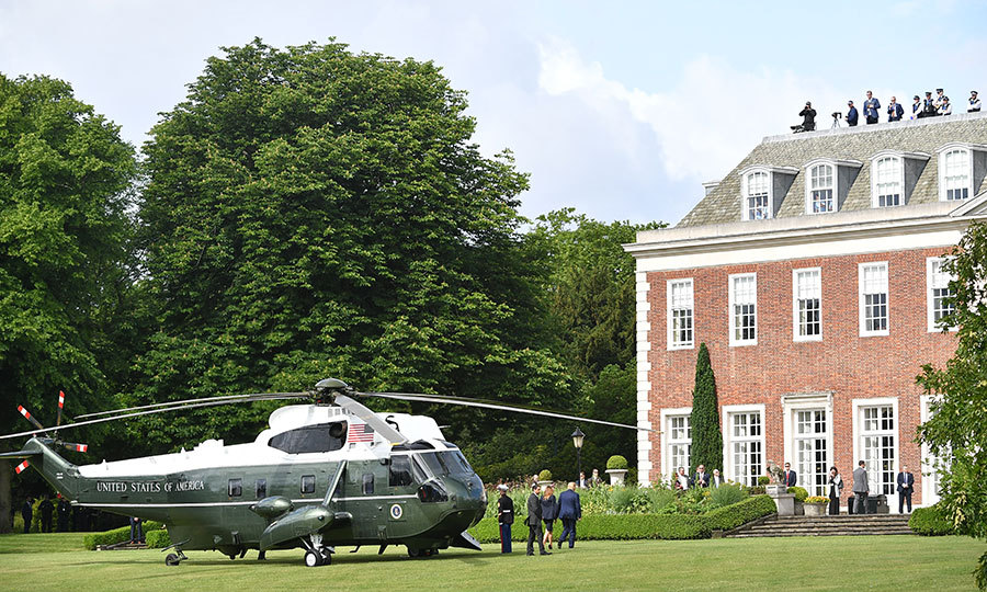 From the airport, the couple were airlifted to Winfield House, the US Ambassador's residence. Donald and Melania are staying there, instead of Buckingham Palace, because the palace is undergoing extensive renovations. 