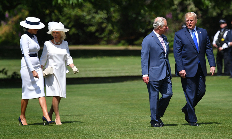 "<strong><A href=""/tags/0/duchess-of-cornwall"">Camilla, Duchess of Cornwall</strong></a> was with Charles, and greeted Donald and Melania before heading into the palace with the Trumps. The four appeared to be having lively discussions.