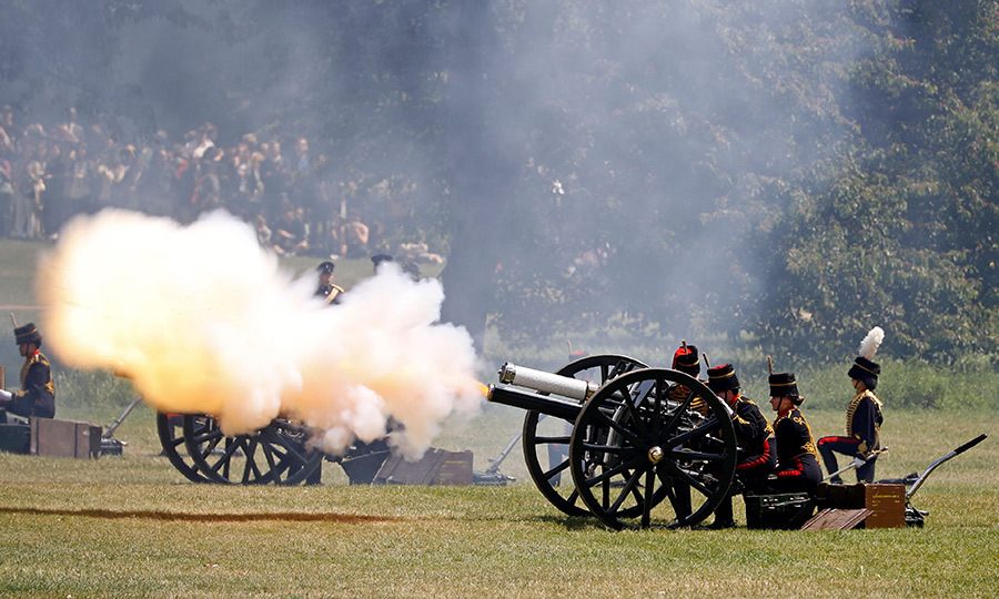 Meanwhile, members of the King's Troop Royal Horse Artillery fired an 82-gun double gun salute in his honour at the Green Park. 
