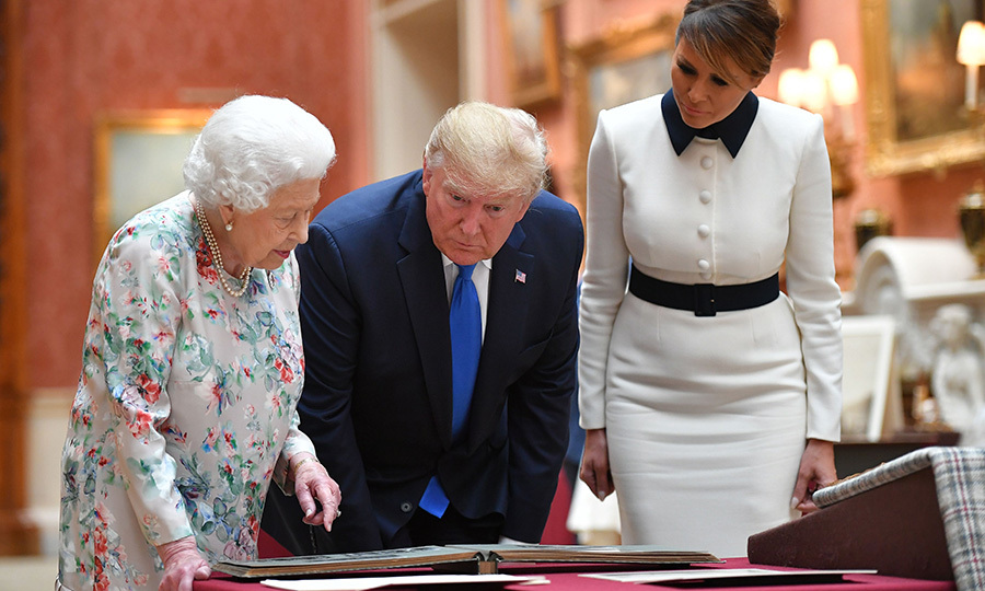 The Queen was keen to show Donald and Melania some of the items in the collection.