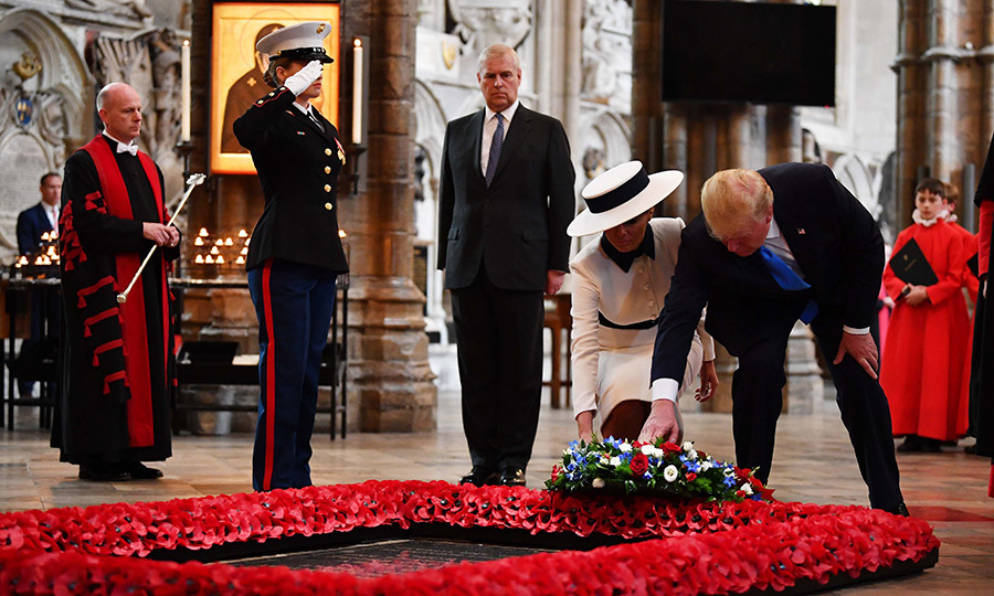 From there, Melania and Donald headed to Westminster Abbey with Prince Andrew. The US first couple placed a bouquet on the plaque marking the final resting place of the Unknown Soldier in a solemn tribute.