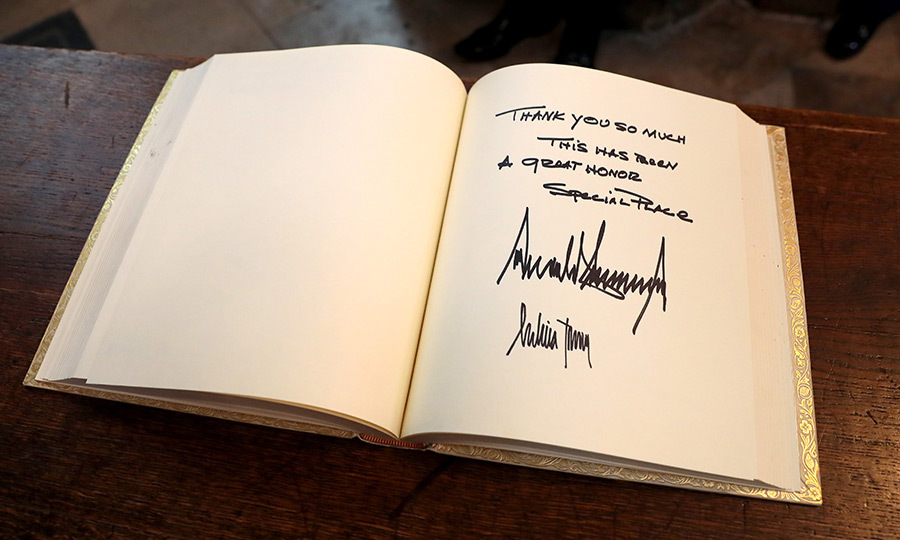 Donald and Melania also signed Westminster Abbey's visitors book.