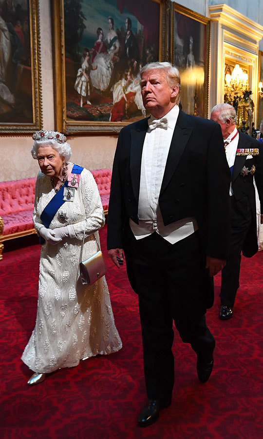 Her Majesty and Donald Trump arrived together.