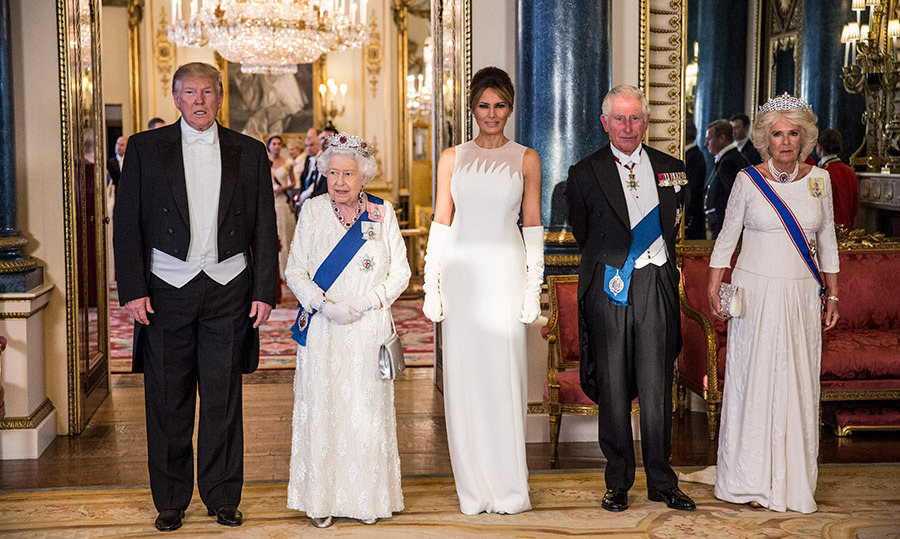 "<a href=""/tags/0/donald-trump""><strong>Donald Trump</strong></a>, <a href=""/tags/0/queen-elizabeth-ii""><strong>the Queen</strong></a>, <a href=""/tags/0/melania-trump""><strong>Melania Trump</strong></a>, <a href=""/tags/0/prince-charles""><strong>Prince Charles</strong></a> and the <a href=""/tags/0/duchess-of-cornwall""><strong>Duchess of Cornwall</strong></a> broke out their finest clothes while attending a State Banquet at Buckingham Palace on June 3.