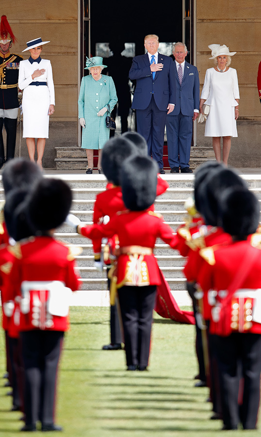 They've arrived! Melania Trump, Queen Elizabeth II, US President Donald Trump, Prince Charles, Prince of Wales and Camilla, Duchess of Cornwall attend the Ceremonial Welcome in the Buckingham Palace Garden for President Trump during day 1 of his State Visit to the UK on June 3, 2019 in London, England. President Trump's three-day state visit will include lunch with the Queen, and a State Banquet at Buckingham Palace, as well as business meetings with the Prime Minister and the Duke of York, before travelling to Portsmouth to mark the 75th anniversary of the D-Day landings. (Photo by Max Mumby/Indigo/Getty Images)