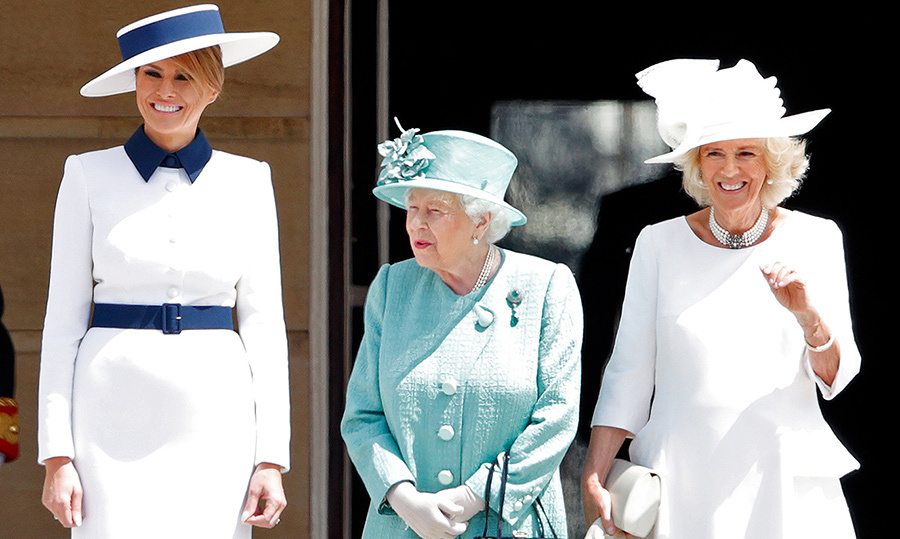 "<a href=""/tags/0/melania-trump""><strong>Melania Trump</strong></a>, <a href=""/tags/0/queen-elizabeth-ii""><strong>the Queen</strong></a> and the <a href=""/tags/0/duchess-of-cornwall""><strong>Duchess of Cornwall</strong></a> attended the Ceremonial Welcome in the Buckingham Palace Garden. The First Lady dazzled in a white-and-blue outfit, while the Queen and Camilla looked beautiful in teal and white, respectively.