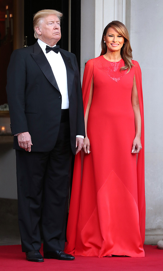 "On June 4, <strong><a href=""/tags/0/donald-trump"">Donald Trump</a></strong> and <strong><a href=""/tags/0/melania-trump"">Melania Trump</a></strong> got some more glam out of their wardrobe for a dinner at Winfield House, the US Ambassador's home in London. The first couple hosted <strong><a href=""/tags/0/prince-charles"">Prince Charles</A></strong> and <strong><a href=""/tags/0/duchess-of-cornwall"">Duchess Camilla</a></strong> for the occasion. 