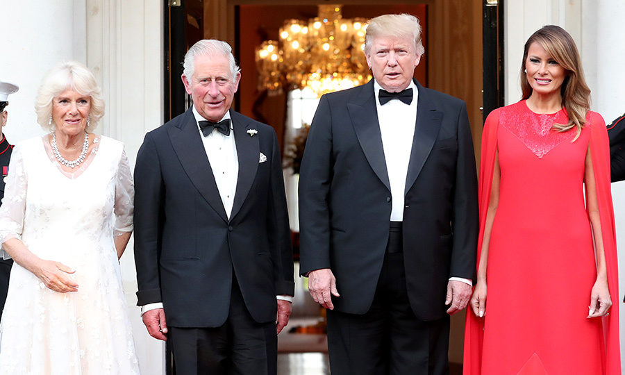 Camilla chose a gorgeous white dress for the occasion, which she accessorized with a diamond necklace. Charles, like Donald, opted for a simple suit with a bowtie.