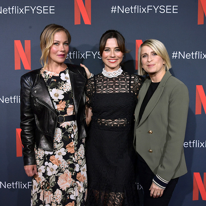 "<a href=""/tags/0/christina-applegate""><strong>Christina Applegate</strong></a>, <a href=""/tags/0/linda-cardellini""><strong>Linda Cardellini</strong></a> and Liz Feldman attended the Netflix FYSEE <em>Dead To Me</em> at Raleigh Studios on June 3.