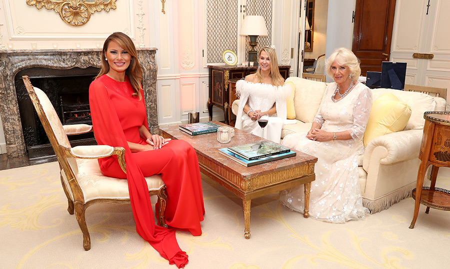 "<a href=""/tags/0/melania-trump""><strong>Melania Trump</strong></a> and the Duchess of Cornwall were joined by Suzanne Ircha, wife of the US Ambassador to London. 
