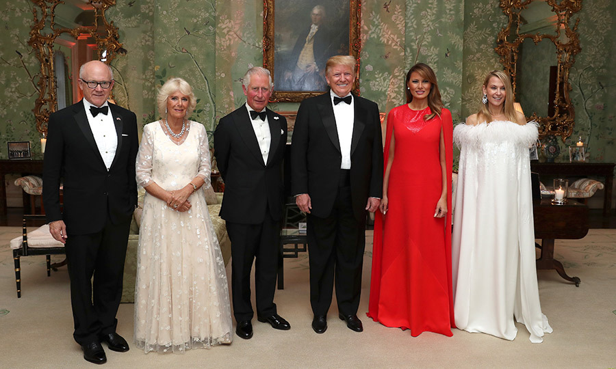 Charles, Camilla and the Trumps posed while inside with Suzanne and her husband, US Ambassador Woody Johnson (left). 