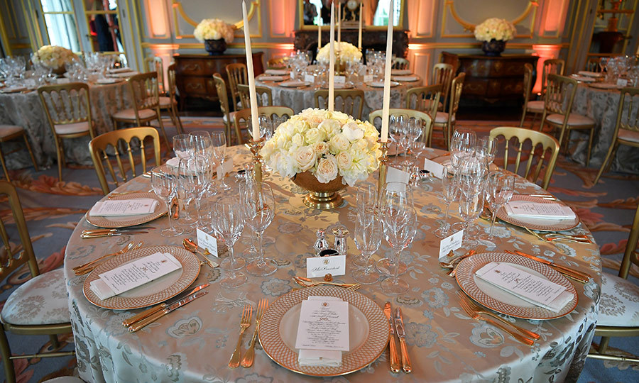 Winfield House's finery was out for the dinner. Here's a look at the table where Charles and Camilla were seated with the Trumps. 