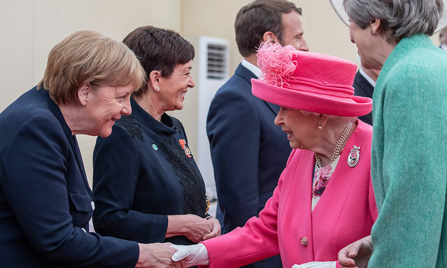 The Queen made sure to greet the leaders who were present, including German Chancellor <strong>Angela Merkel</strong> (left). 