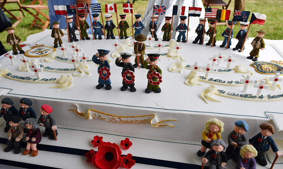 A special reception afterward featured a commemorative D-Day cake.