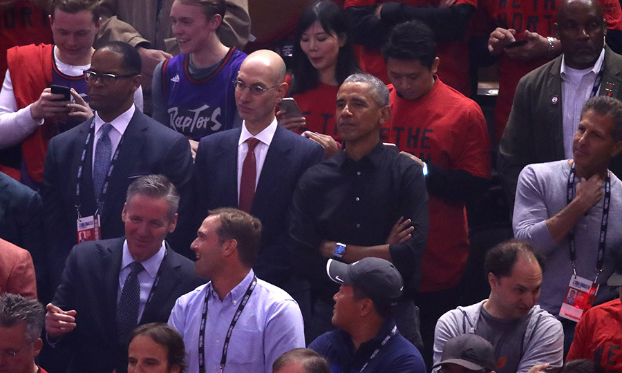 While he was inside the arena, Barack sat next to NBA Commissioner <strong>Adam Silver</strong> in the lower bowl. It's a bit surprising he didn't have courtside seats, but that was probably a security thing. Barack wasn't wearing either team's jersey, but we're just going to assume he's a Raptors fan. Sorry, Golden State. 