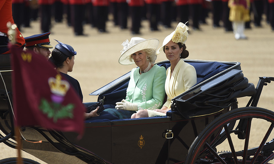 "Harry and Meghan were accompanied in their carriage at the Horseguards parade by <strong<a href=""/tags/0/duchess-of-cornwall"">Camilla, Duchess of Cornwall</a></strong> and <strong><a href=""/tags/0/kate-middleton"">Duchess Kate</a></strong>. 
