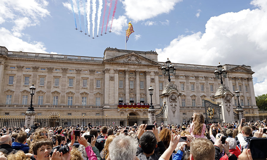 Following the Horseguards parade, the Royal Family gathered on Buckingham Palace's balcony to watch the Royal Air Force flypast. 