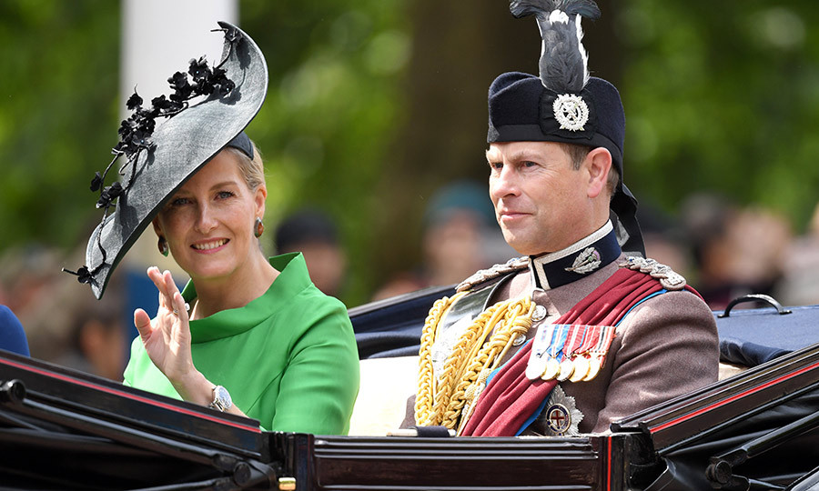 "<a href=""/tags/0/countess-of-wessex""><strong>Sophie, Countess of Wessex</a></strong> and <strong><a href=""/tags/0/prince-edward"">Prince Edward</a></strong> rode together in the Horseguards parade. Sophie chose a gorgeous green dress and grey hat with flower detailing for her Trooping the Colour look. 
