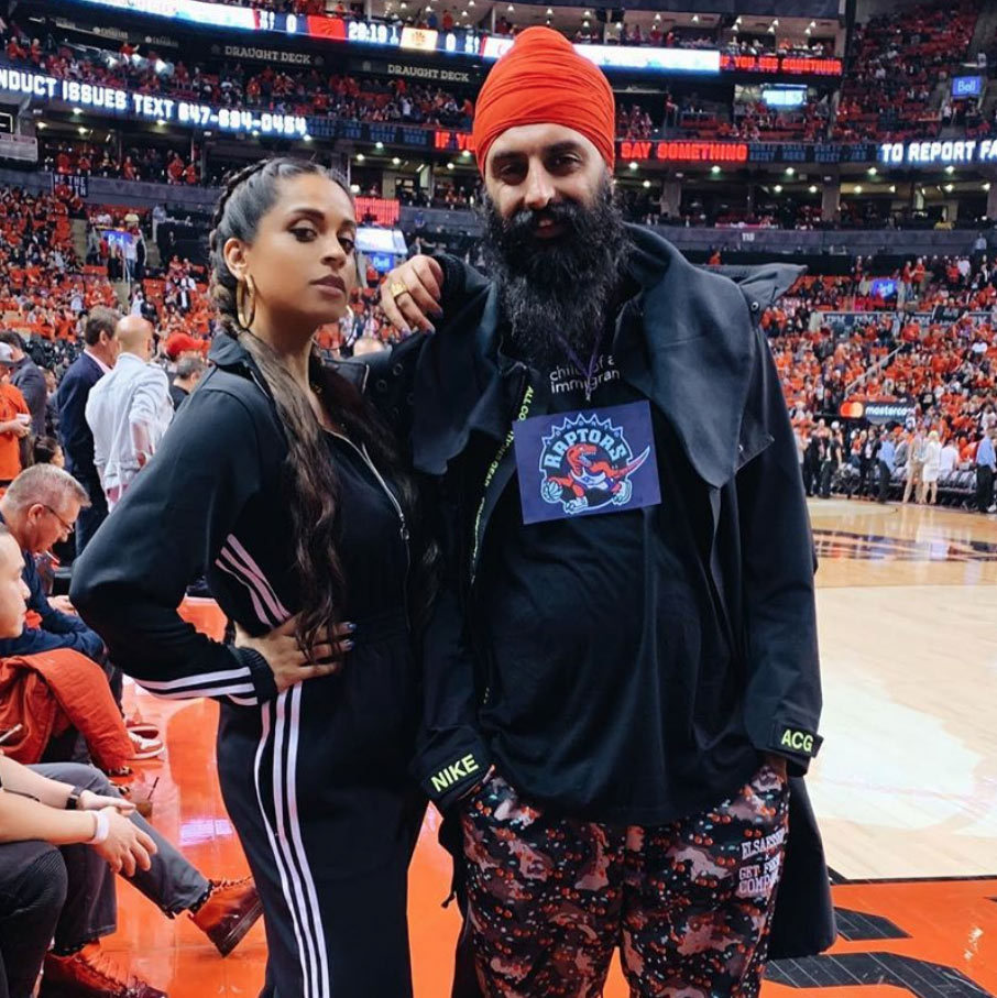 "Canadian YouTube star <strong><a href=""/tags/0/lilly-singh"">Lilly Singh</a></strong> and her friend <strong>Humble the Poet</strong> (Kanwar Singh) posed courtside before the game. 