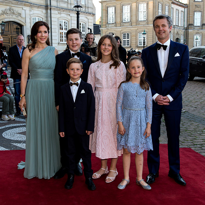 The Danish royal family were out in full force for the 50th birthday of Prince Joachim! Crown Princess Mary dazzled in a green one-shoulder gown, while her husband Crown Prince Frederik looked dapper in a tuxedo.