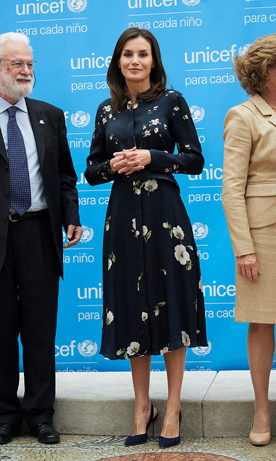 For the UNICEF Spanish Committee Awards on June 11, Queen Letizia of Spain looked beautiful in a floral black Massimo Dutti dress. She paired the looked with slingback Carolina Herrera heels.