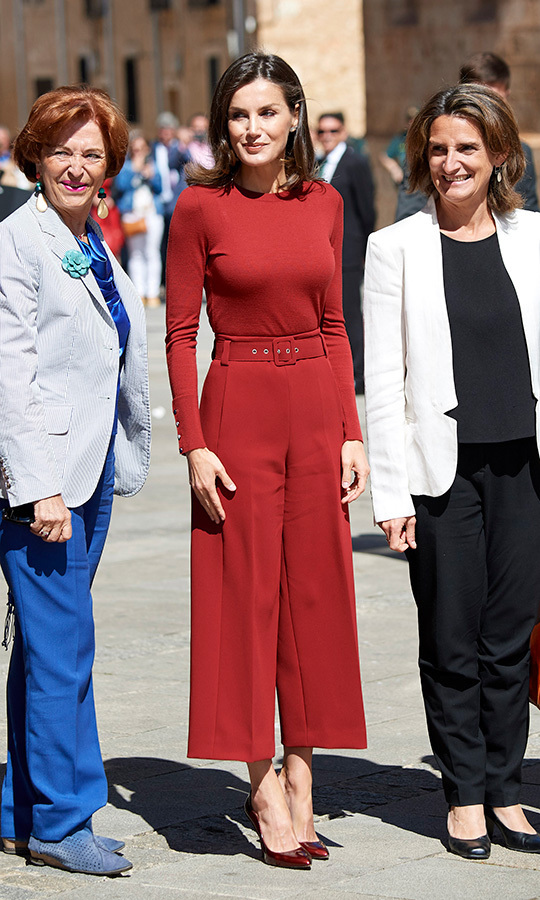Queen Letizia attended the closure of a journalism seminar on June 12 wearing head-to-toe red, from her palazzo pants to her ruby red shoes. 