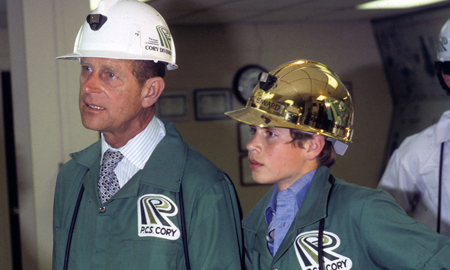 "Philip has been heavily involved in all of his children's lives. Here he is spending quality time with a young <strong><a href=""/tags/0/prince-edward"">Prince Edward</a></strong> at a mine in Canada in 1976. 