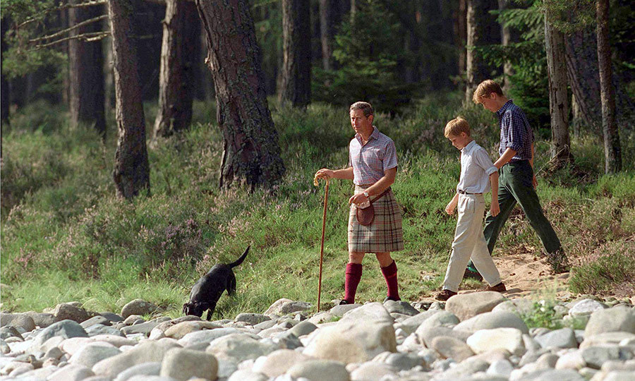 Charles worked hard to instill his love of the great outdoors in his sons from an early age. Here they are on holiday at Balmoral in 1997.