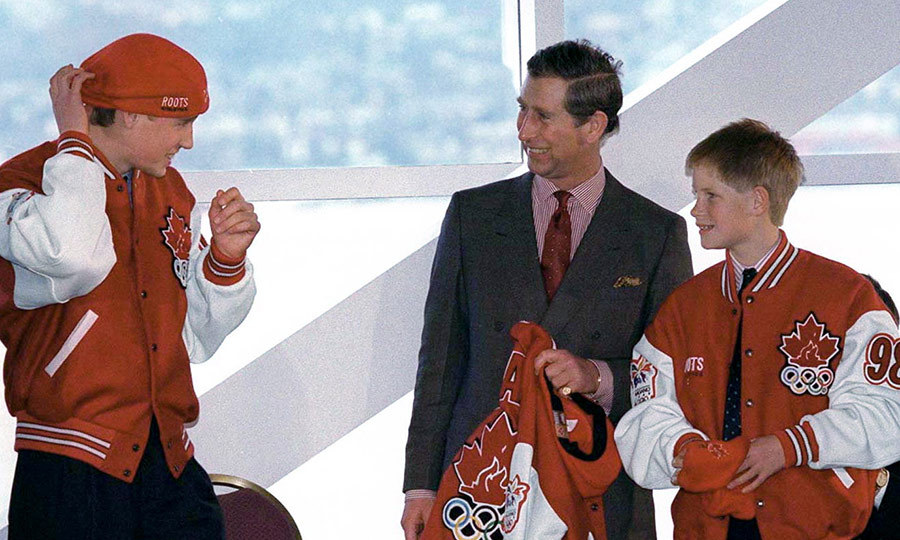Oh, Canada! Charles had a great time with his sons, trying on Canadian Olympic gear for the 1998 Nagano Winter Olympics, in the same year in British Columbia.