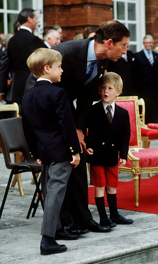 This adorable moment between Charles and his sons was captured during the Beating Retreat just before Trooping the Colour in 1989. We imagine Charles spent it explaining to his sons why it was all happening and detailing the significance of the spectacle. Harry seems blown away by it all! 