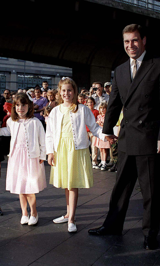 What a happy, proud dad! Andrew brought his daughters to the premiere of <i>Dr. Doolittle</i> in 1998.