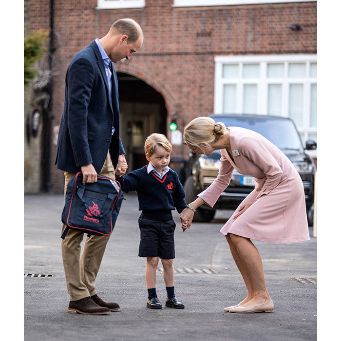 As part of his and Kate's goal to have their children live as normal a life as possible, William brought George to his first day of school at Thomas's Battersea in 2017. The little prince was understandably nervous, but it looks like William and his teacher put him at ease!