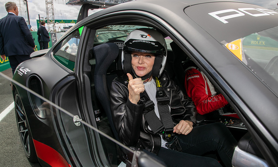 Princess Charlene gave a thumbs up while attending the <em>24 Hours of Le Mans</em> race on June 15.