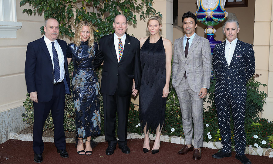 Actor Paul Giamatti, Maria Bello, Prince Albert II, Princess Charlene, Ian Anthony Dale and Alan Cumming stopped for a photo while attending a cocktail event during the 59th Monte Carlo TV Festival on June 16.