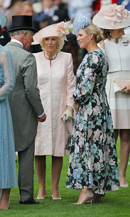 "<a href=""/tags/0/duchess-of-cornwall""><strong>Camilla, Duchess of Cornwall</strong></a> and <a href=""/tags/0/zara-tindall""><strong>Zara Tindall</strong></a> looked stunning on June 18, too. <a href=""/tags/0/Prince-charles""><strong>Prince Charles</strong></a>'s wife looked wonderful in a pale pink coat dress, featuring white embroidery. She topped off the look with a matching floral hat.