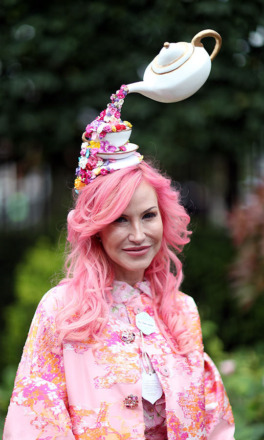 We love this look, compete with teacups and a teapot pouring floral tea onto this woman's head!