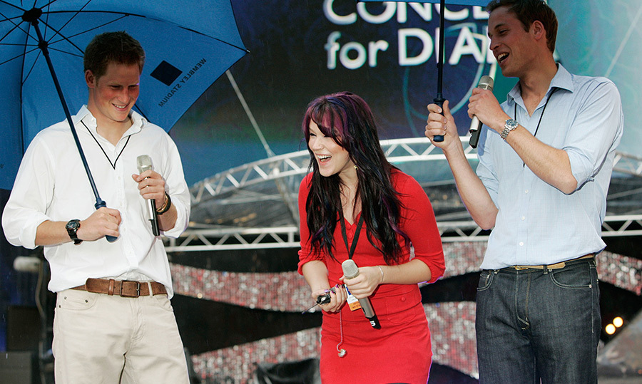 "Princes Harry and William shared a laugh with friend and singer <strong><a href=""/tags/0/joss-stone"">Joss Stone</a></strong> during rehearsals at Wembley Stadium before the Concert for Diana in 2007.